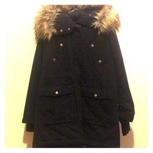 Jackets & Blazers - Black winter coat with fur